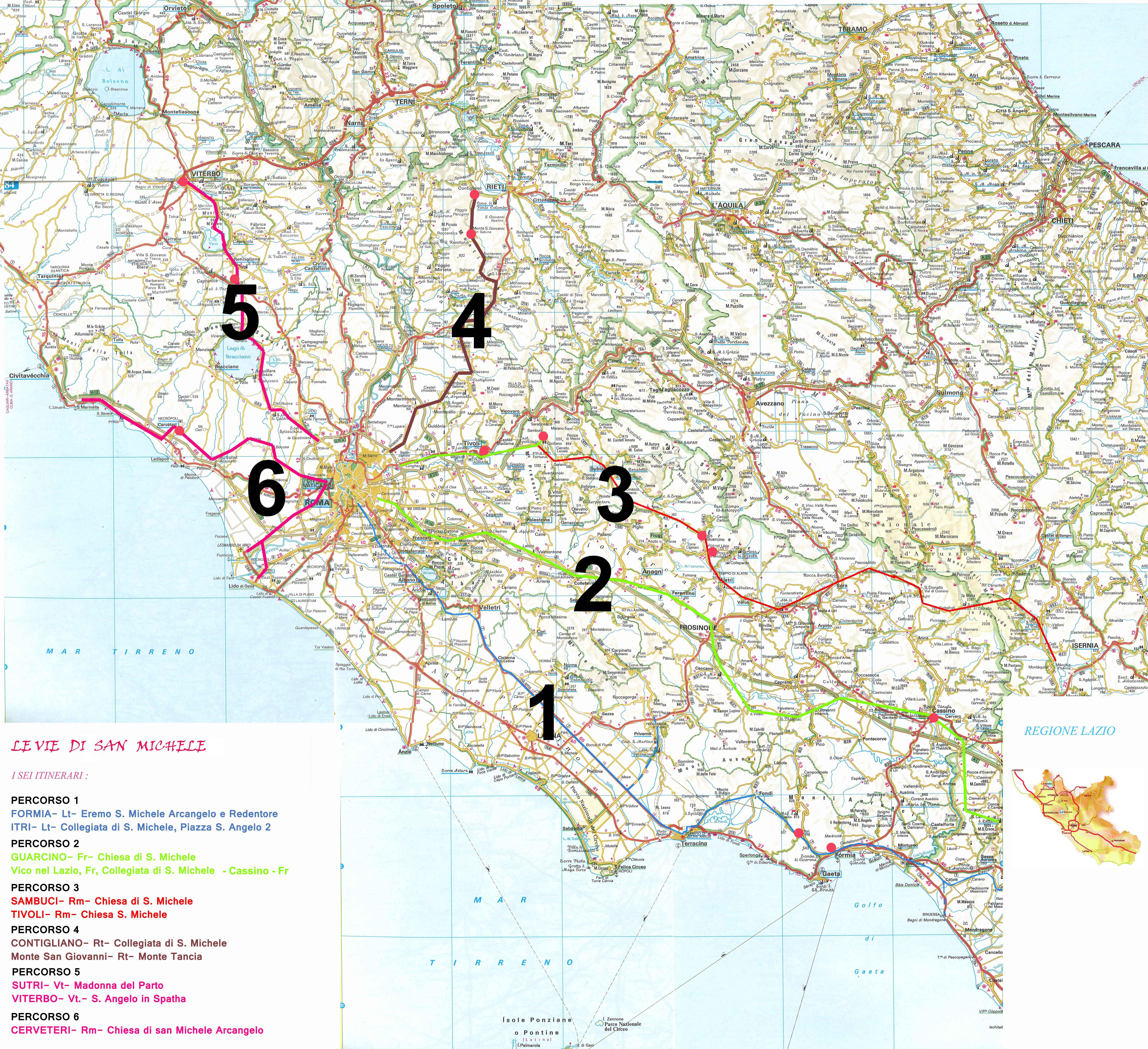cartina  350_000  6 itinerari LAZIO sito