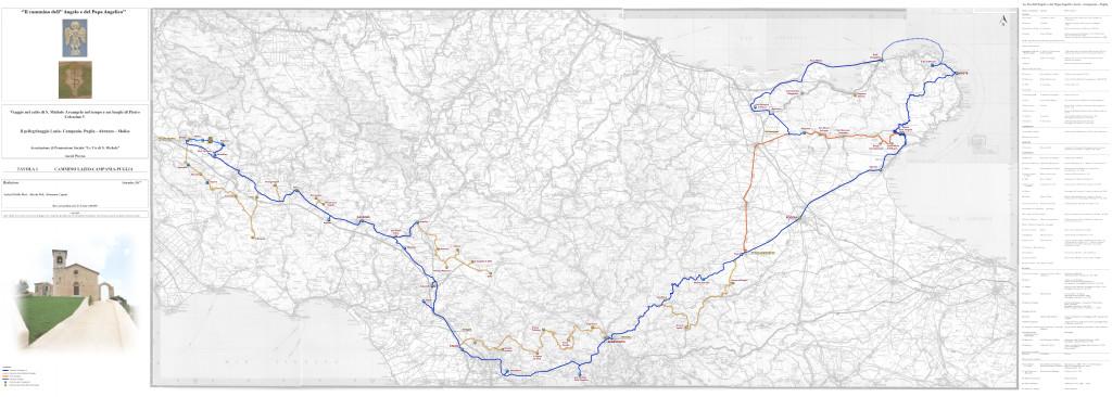 Cartografia del cammino dell'Angelo e del Papa Angelico